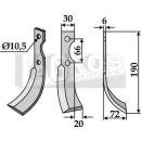 Fräsmesser 190x72 RS für BCS/Bertol/Ferrari/Grillo