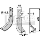 Schrägbogenmesser 220x65 RS für Grillo 9253