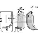 Schrägbogenmesser 173x75 LS für BCS